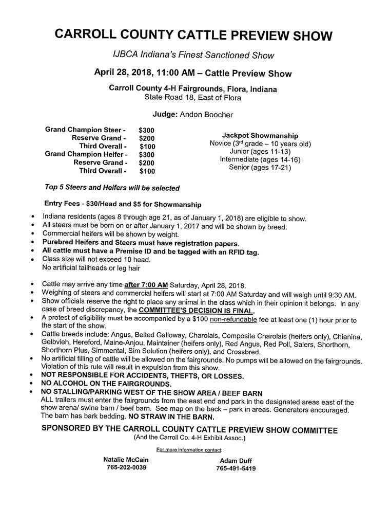 Carroll County Cattle Preview Show (IN) | THIS WEEKEND